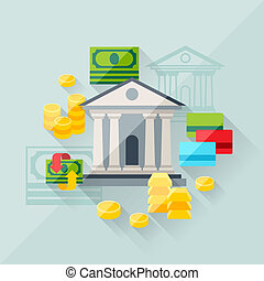 apartamento, conceito, ilustração, operação bancária, desenho, style.