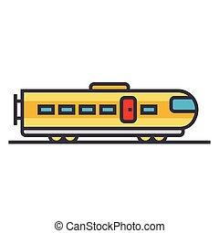 apartamento, conceito, ilustração, trem, modernos, isolado, vetorial, linha, ícone