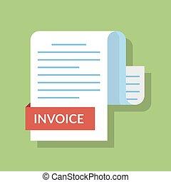 apartamento, conceito, image., pagamento, isolado, ilustração, style., vetorial, caricatura, document., invoiced