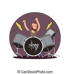 apartamento, conceito, músico, personagem, vetorial, drummer., caricatura