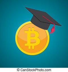 apartamento, conceito, moedas, dinheiro, graduação, dinheiro, ilustração, educação, chapéu