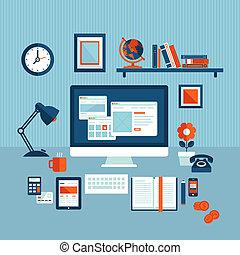 apartamento, conceito, negócio, workspace