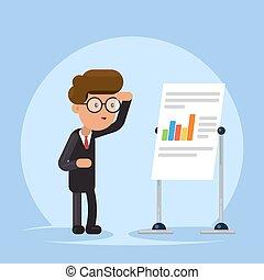 apartamento, conceito, olhar, treinamento, inverter, ilustração, isolado, chart., experiência., gerente, vetorial, workshop., homem negócios, seminário, ou