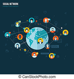 apartamento, conceito, para, social, rede