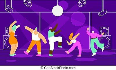 apartamento, conceito, pessoas, clube, dançar, vetorial, noturna