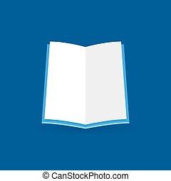 apartamento, conceito, símbolo, vetorial, icon., educação, livro aberto