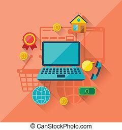 apartamento, conceito, shopping, ilustração, desenho, internet, style.