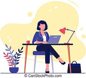 apartamento, conceito, trabalhando escritório, sentando, executiva, worker., laptop., ilustração, isolado, vetorial, white., escrivaninha