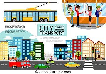 apartamento, conceito, transporte, cidade