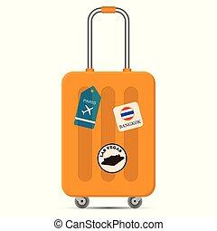 apartamento, conceito, viagem, férias, ilustração, desenho, saco, vetorial, fundo, viajar, branca