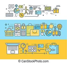 apartamento, conceitos, fazendo compras online