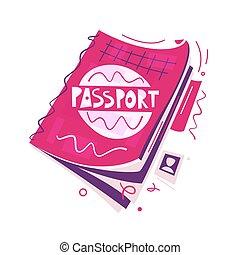 apartamento, concept., ilustração, ar, vetorial, caricatura, passport., viagem