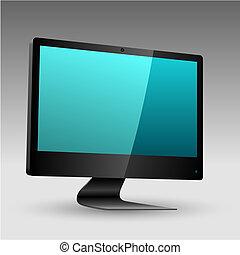 apartamento, conduzido, monitor, tv, editable, lcd, vetorial, arquivo