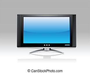 apartamento, conduzido, tv, modernos, lcd, plasma