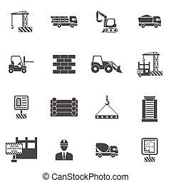 apartamento, construção, ícones