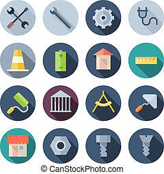 apartamento, construção, desenho, ícones