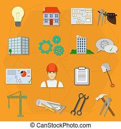 apartamento, construtor, trabalhador construção, icons.