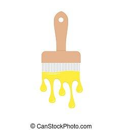 apartamento, cor, gotejando, amarela, isolado, baixo,...