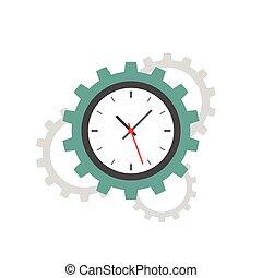 apartamento, cronometre engrenagem, ícone
