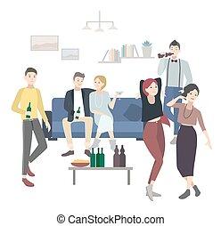 apartamento, dançar, illustration., pessoas., partido, lar, bebendo