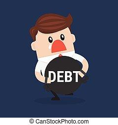 apartamento, debt., desenho, vector., abraços, homem negócios