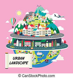 apartamento, desenho, paisagem, urbano