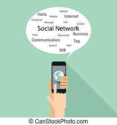 apartamento, desenho, para, social, network.