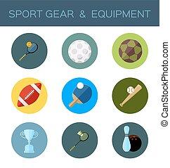 apartamento, desporto, engrenagem, ícone