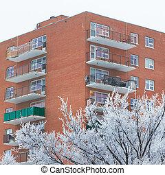 apartamento, dia, nevado