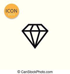 apartamento, diamante, style., ícone, isolado