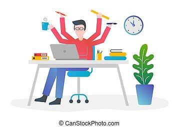 apartamento, diferente, conceito, illustration., escritório, managing., cor, coisas, tempo, multi, quatro, gradiente, vetorial, desenho, skill., segurar passa, multitasking, macho, homem
