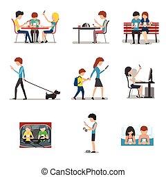 apartamento, diferente, conceito, pessoas, móvel, mídia, social, uso, dispositivo, vetorial, internet, ação, vício, estilo, smartphone.