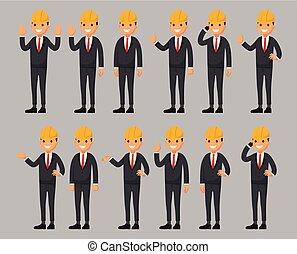 apartamento, diferente, jogo, construtor, personagem, estilo, ilustração, poses., vetorial, caricatura