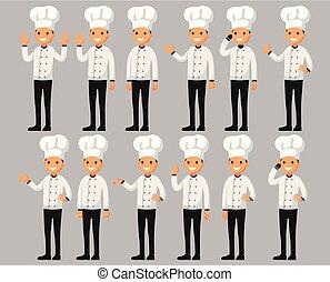 apartamento, diferente, jogo, personagem, estilo, ilustração, cozinheiro, poses., vetorial, caricatura