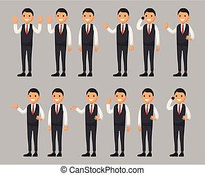 apartamento, diferente, jogo, personagem, estilo, ilustração, poses., vetorial, homem negócios, caricatura