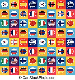 apartamento, diferente, países, padrão, fala, seamless, desenho, bandeiras, bolhas, estilo