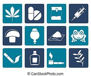 apartamento, diferente, tipo, droga, ícones