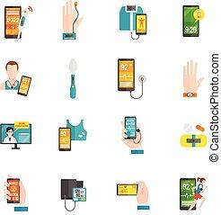 apartamento, digital, saúde, ícones