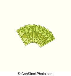 apartamento, dinheiro, dinheiro, isolado, vetorial, ventilador