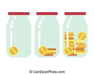 apartamento, dinheiro saving, ilustração, passo, vetorial