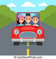 apartamento, dirigindo, car, sharing., characters.,...