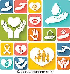 apartamento, doação, caridade, ícones