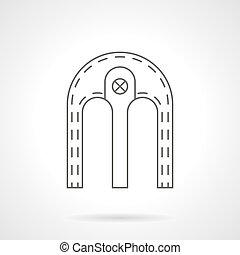 apartamento, dobro, vetorial, linha, arco, ícone