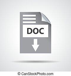 apartamento, doc, download, ícone, ligado, um, cinzento, fundo