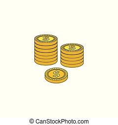 apartamento, dourado, coluna, moedas, dólar, centavo, vetorial