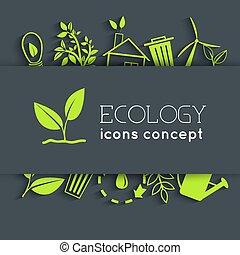 apartamento, eco, concept., ilustração, vetorial, desenho, fundo