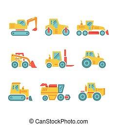 apartamento, edifícios, jogo, ícones, fazenda, modernos, tratores, veículos, máquinas, construção