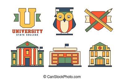 apartamento, edifícios, jogo, esboço, ícones, universidade, theme., relatado, original, emblemas, vetorial, educação, coruja, mantle.