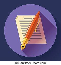 apartamento, editar, símbolo, sinal, projetado, vector., documento, style., ícone