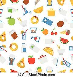 apartamento, elementos, ícones, alimento, seamless, experiência., desenho